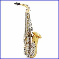 Alto Saxophone Brass Golden Eb Sax Woodwind Instrument with Carry Case Kit C2G0