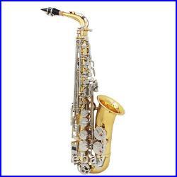 Alto Saxophone Glossy Brass Engraved Eb E-Flat Sax with Case Mouthpiece Kit F4F2