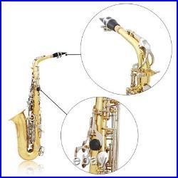 Alto Saxophone Sax Glossy Brass Engraved Eb E-Flat Sax with Case Care Kit Q0V8