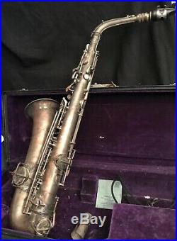 Antique 1914 Silver CONN Alto Sax Saxophone withOriginal Case