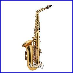 Golden Alto Saxophone Eb Sax Brass Body Woodwind Instrument with Carry Case Y9X2