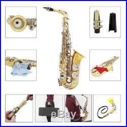 LADE Alto Saxophone Glossy Brass Engraved Eb E-Flat Sax with Case Accessory A7E3