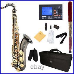Mendini Bb Tenor Saxophone Sax Black Nickel Body Gold Keys +Tuner MTS-BNG