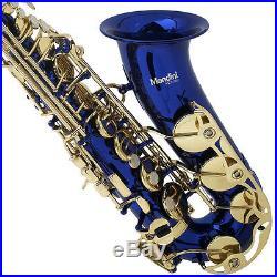 Mendini Blue Lacquered Eb Alto Saxophone Sax +Tuner+CareKit+Case+Book MAS-BL
