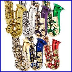 Mendini Eb Alto Saxophone Sax Gold Silver Blue Green Purple Red +Care Kit