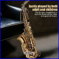 Professional Golden Plating Brass Eb Key Alto Eb Saxophone Sax Set High F# Tone