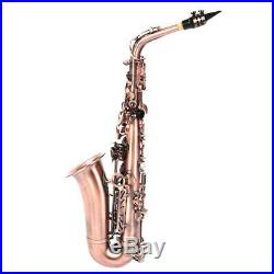 Professional Red Bronze Bend Eb E-flat Alto Saxophone Sax with Case Gloves