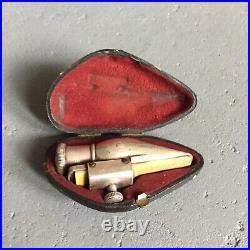 RARE old C. Mahillon Alto Sax Saxophone silver mouthpiece + case vintage antique