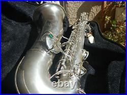 Vintage Silver Plated Alto Saxophone Conn Beautiful Sax Make Offer Free Ship